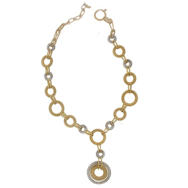 Necklace and drop earrings in yellow and white gold