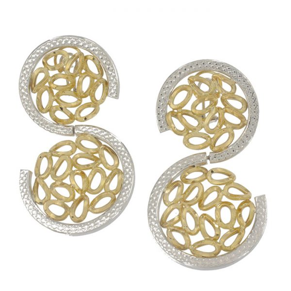 Earrings in yellow and white gold.