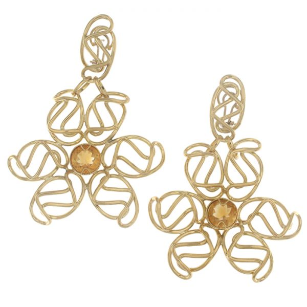 Drop earrings in yellow gold with citrine